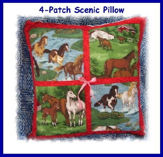 Handmade Customized 4-Patch Scenic Pillow