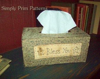 Primitive Stitchery Tissue Box cover for paper mache E-pattern