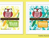 Owl Art - Owls Brush Your Teeth and Wash Your Hands Set of TWO 8x10 Art Prints for you Childs Bathroom