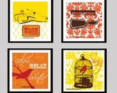 """Bathroom Art - Sunny Yellow and Oranges - Birds, Brushes, Combs 5""""x5"""" set of FOUR art prints"""