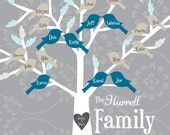 Digital File - Family Tree Custom Art Print - Tree with Birds and Carved Heart - Style #9