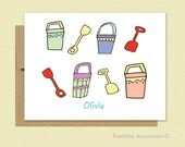 Personalized Stationery - Personalized Stationary - Beach Buckets - Set of 10 Cards