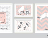 Children or Nursery Art Prints - Set of Four Coordinating Bird Prints - Pink, Gray, Grey and White