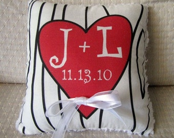 Ring Bearer Pillow - Carved Heart with Initials Tree Pillow - Customize to your Wedding