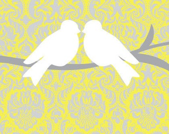 Birds on Branches in Yellow, White and Gray 8x10 Art Print