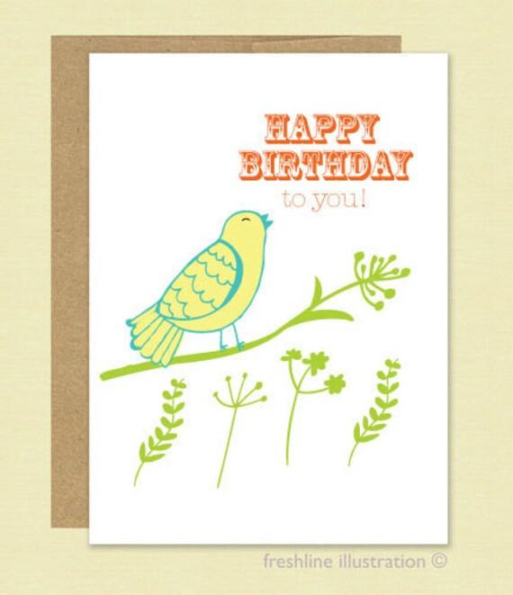 Bird Singing Happy Birthday Greeting Card With By Freshline