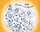 Flower of Month #3813 Aunt Martha's Embroidery Transfer Designs