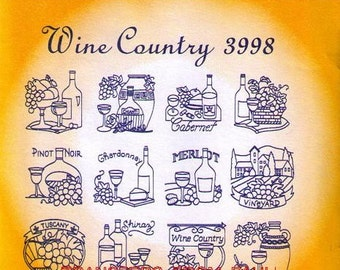 Wine Country #3998 Aunt Martha's Embroidery Transfer Designs Pattern