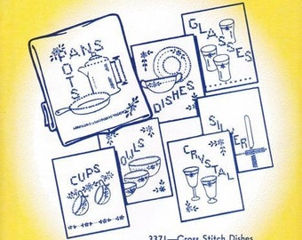 Cross Stitch Dishes Aunt Martha's Embroidery Transfer Designs