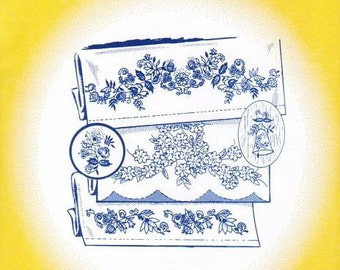 Blue Onion Motifs Aunt Martha's Embroidery Transfer Designs 3759
