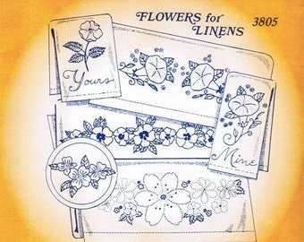 Flowers for Linens Aunt Martha's Embroidery Transfer Designs