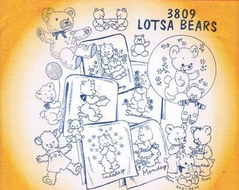 Lotsa Bears Aunt Martha's Embroidery Transfer Designs