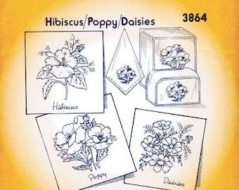 Hibicus/Poppy/Daisy 3864 Aunt Martha's Embroidery Transfer Designs Pattern