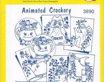 Animated Crockery Aunt Martha Embroidery Transfer Designs Pattern