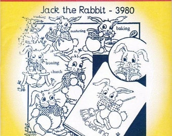Jack the Rabbit 3980 Aunt Martha's Embroidery Transfer Designs Pattern