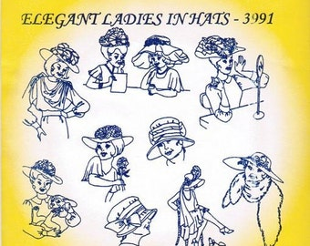 Elegant Ladies in Hats Aunt Martha's Embroidery Transfer Designs Pattern