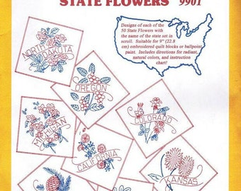 State Flowers #9901 Aunt Martha's Collection for Embroidery or Paint transfer pattern