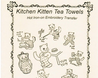 M101 Kitchen Kittens Hot Iron Transfer Embroidery Pattern MaMaw's Vintage