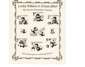 M409 Vintage Lucky Kitten Tea Towel Embroidery heat transfer pattern