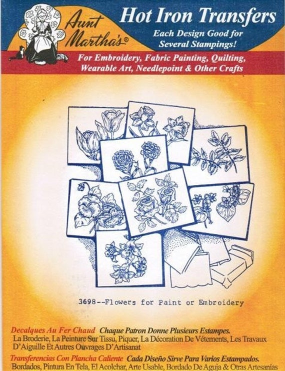 Flowers for Paint 3698 Aunt Martha's Embroidery Transfer Designs