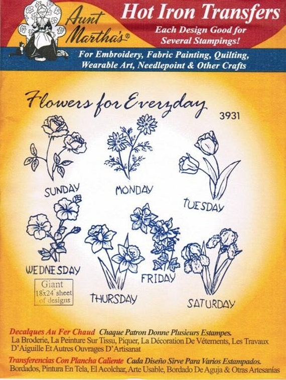Flowers For Everyday Aunt Martha's Embroidery Transfer Designs