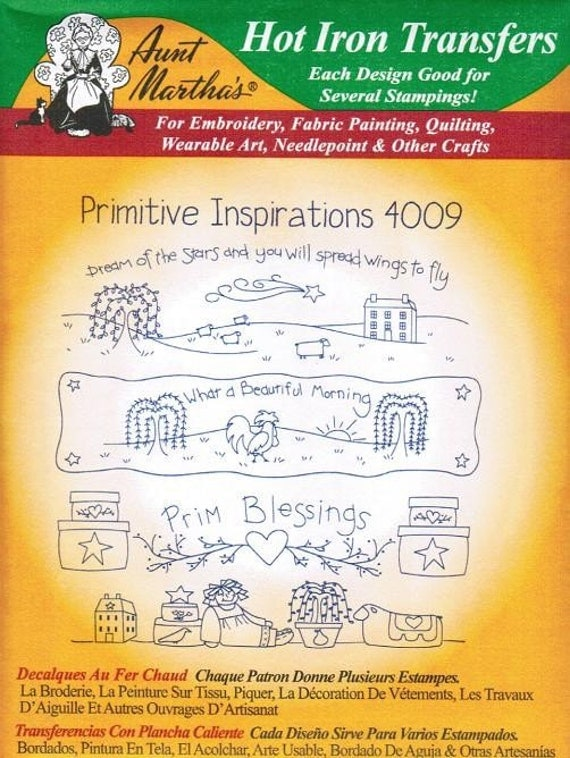 Primitive Inspirations Aunt Martha's Embroidery Transfer Designs Pattern