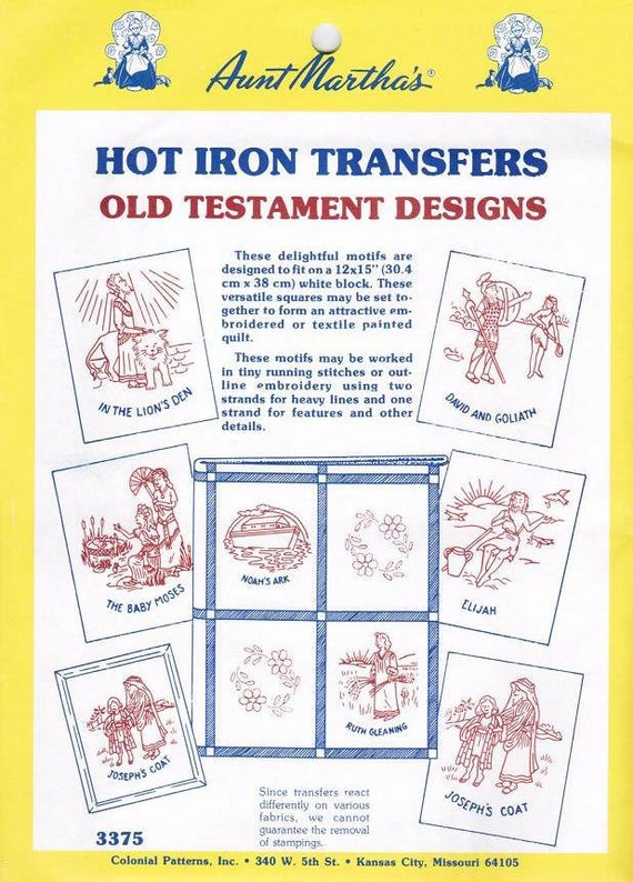 Old Testament Bible Aunt Martha's Collection for Embroidery or Paint transfer pattern