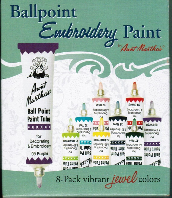 Aunt Martha Ballpoint Jewel Embroidery Paint 8 pack for Transfer patterns