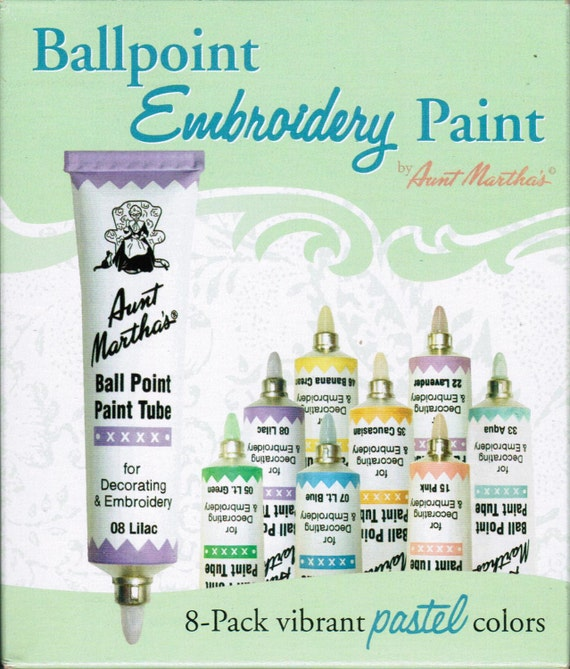 Aunt Martha Ballpoint Pastel Colors Embroidery Paint 8 pack for Transfer patterns