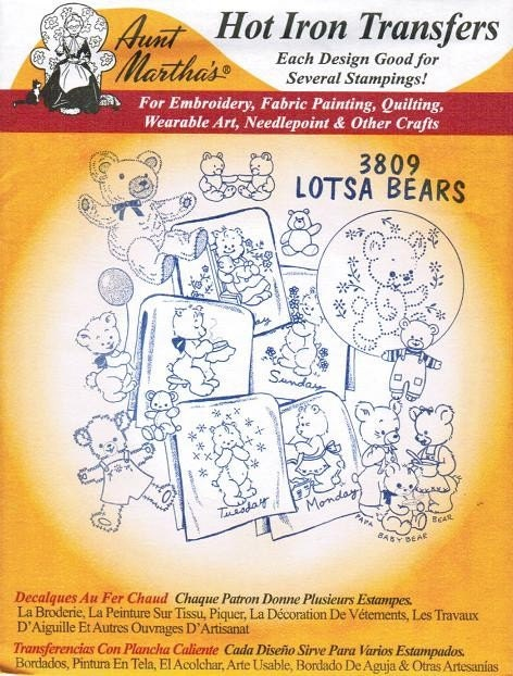 Lotsa Bears Aunt Martha S Embroidery Transfer Designs