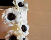 Anemone wedding cake flowers bouquet silk sugar gumpaste alternative