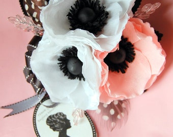 Black and white wedding Anemone bouquet  or corsage and boutonnierres silk or fresh flower alternative