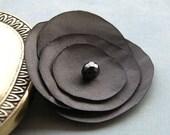 Charcoal satin silk flower corsage brooch