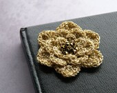 Crochet flower brooch - golden with sparkles - holiday and Christmas accessory