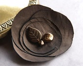 Satin flower brooch in chocolate brown with leaves - fall fashion