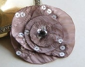 Satin flower brooch in beige/nude and silver - large fabric flower pin