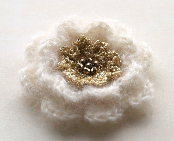 Crochet flower pin in ivory and gold - beaded flower pin