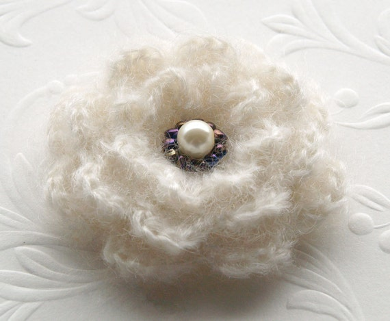 Ivory and purple crochet flower brooch