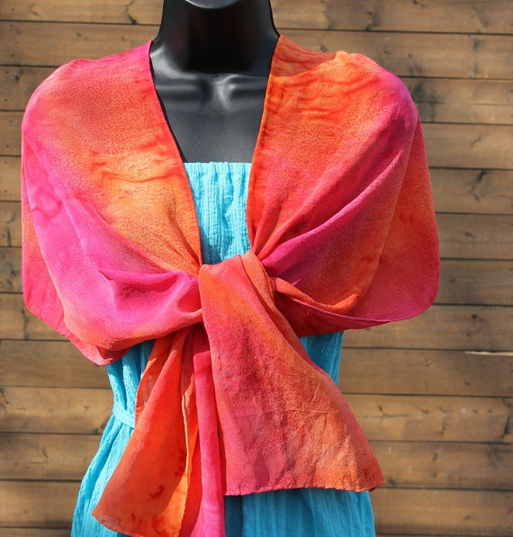 Summer Love .... hand painted silk scarf, crepe de chine