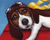 Giclee Ltd Print Beagle Flying Ace In Training by Salcedo Ebsq