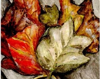 ACEO Giclee Print Perfect Pile of Leaves Autumn by Rebecca Salcedo Ffaw