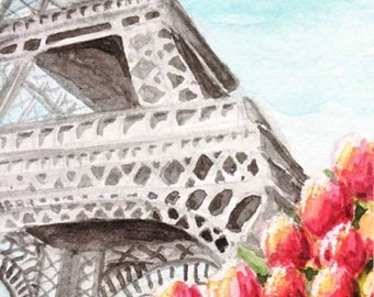 ACEO Print Spring at the Eiffel Tower Tiny Art by Rebecca Salcedo FFAW EBSQ