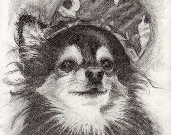 ACEO Mini Print by RSalcedo EBSQ A4C Black and white Pomeranian Chihuahua Dog art Tiny Art