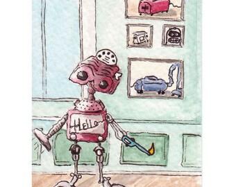 ACEO Robot Print Ltd Edition ArtCard by Rebecca Salcedo View Mistress NORGASWAP5