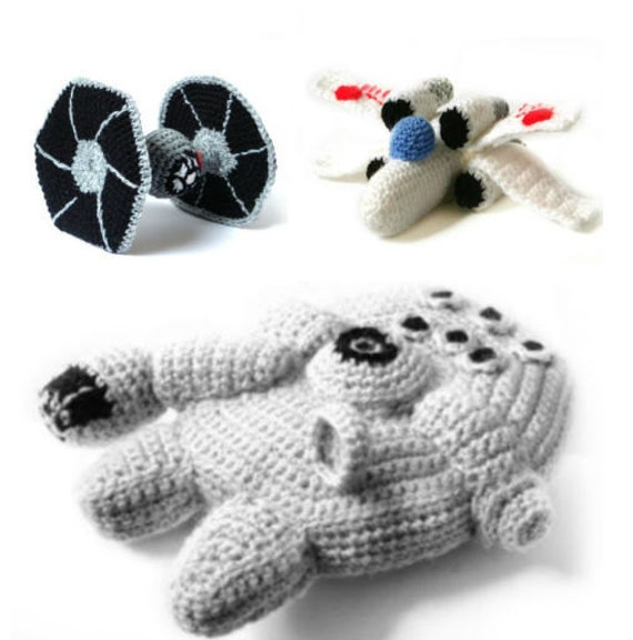 PDF of Star Wars Ships Amigurumi Crochet Patterns - Millennium Falcon - XWing - Tie Fighter