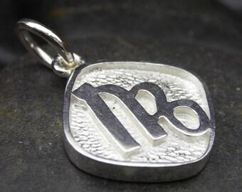 Virgo zodiac pendant in sterling silver - Double sided