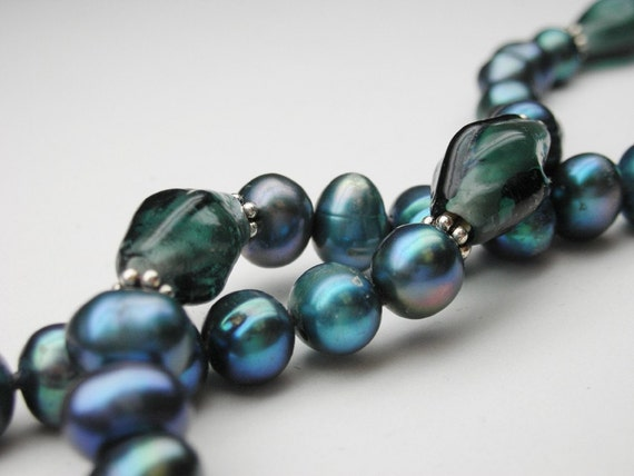 Electric blue freshwater pearls with glass beads - 17.5 inches long necklace hand knotted on silk