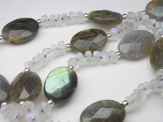 """Moonstone and Labradorite necklace - 24"""" inches long necklace - Hand knotted on grey thread"""