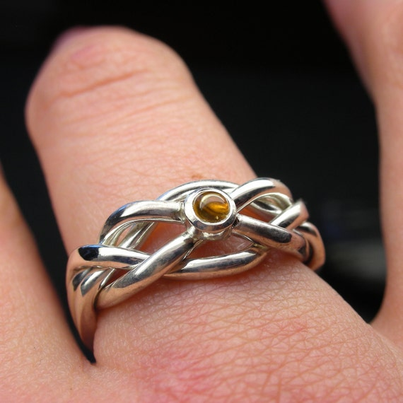 Citrine puzzle ring in sterling silver - Narrow style - Size 7 1/2