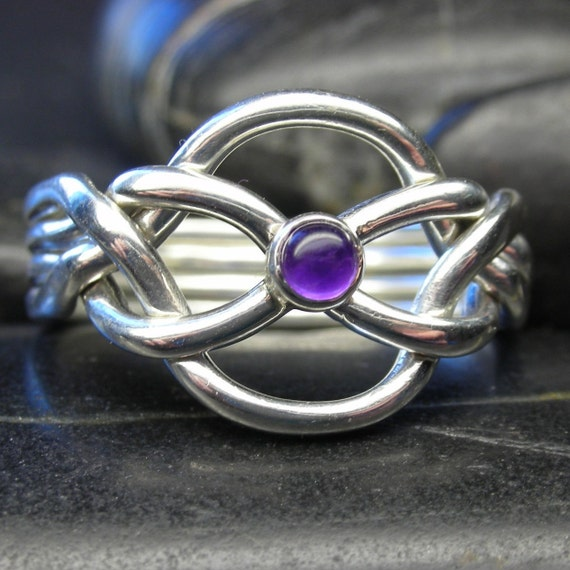 Amethyst puzzle ring in sterling silver - Size 8